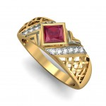 Gemstone cross ring