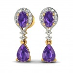 Purple Bridal Drop Earring