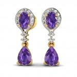 Purple Bridal Drop Earring