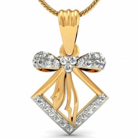Bow Square Diamond Pendant