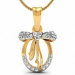 Bow Oval Diamond Pendant