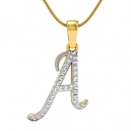 Alphabet 'A' Diamond Pendant
