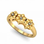 Trio Floral Gold Ring